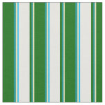 [ Thumbnail: Tan, Dark Cyan, Dark Green, White & Deep Sky Blue Fabric ]