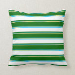 [ Thumbnail: Tan, Dark Cyan, Dark Green, White & Deep Sky Blue Throw Pillow ]