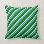 [ Thumbnail: Tan, Dark Cyan, Deep Sky Blue, White & Dark Green Throw Pillow ]