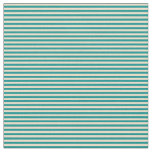 [ Thumbnail: Tan & Dark Cyan Lines Pattern Fabric ]