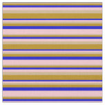 [ Thumbnail: Tan, Dark Goldenrod, Blue, and Pink Stripes Fabric ]