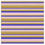 [ Thumbnail: Tan, Dark Goldenrod, Blue, and Pink Stripes Fabric ]