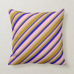 [ Thumbnail: Tan, Dark Goldenrod, Blue, and Pink Stripes Pillow ]