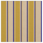 [ Thumbnail: Tan, Dark Goldenrod & Blue Colored Stripes Fabric ]