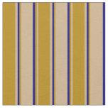 [ Thumbnail: Tan, Dark Goldenrod & Blue Colored Stripes Fabric ]