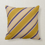 [ Thumbnail: Tan, Dark Goldenrod & Blue Colored Stripes Pillow ]