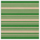 [ Thumbnail: Tan & Dark Green Colored Striped/Lined Pattern Fabric ]