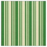[ Thumbnail: Tan & Dark Green Colored Stripes Fabric ]
