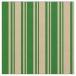 [ Thumbnail: Tan & Dark Green Colored Stripes/Lines Pattern Fabric ]