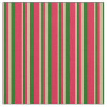 [ Thumbnail: Tan, Dark Green & Crimson Colored Lined Pattern Fabric ]