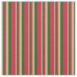 [ Thumbnail: Tan, Dark Green & Crimson Colored Lined Pattern Fabric ]