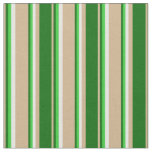 [ Thumbnail: Tan, Dark Green, Lime Green & Mint Cream Colored Fabric ]