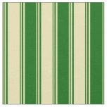 [ Thumbnail: Tan & Dark Green Lines Fabric ]