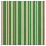 [ Thumbnail: Tan & Dark Green Lines Pattern Fabric ]