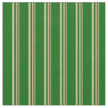 [ Thumbnail: Tan & Dark Green Pattern of Stripes Fabric ]