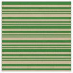 [ Thumbnail: Tan & Dark Green Striped/Lined Pattern Fabric ]