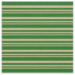 [ Thumbnail: Tan & Dark Green Stripes Fabric ]