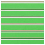 [ Thumbnail: Tan, Dark Green, White & Lime Green Stripes Fabric ]