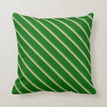 [ Thumbnail: Tan, Dark Khaki, Sea Green & Dark Green Stripes Throw Pillow ]