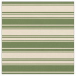 [ Thumbnail: Tan & Dark Olive Green Colored Lined Pattern Fabric ]