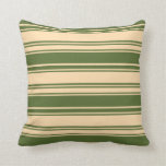 [ Thumbnail: Tan & Dark Olive Green Colored Lined Pattern Throw Pillow ]