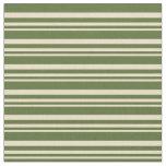 [ Thumbnail: Tan & Dark Olive Green Lines Pattern Fabric ]