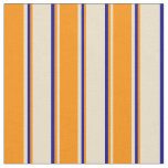 [ Thumbnail: Tan, Dark Orange, and Dark Blue Colored Pattern Fabric ]