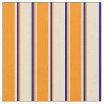 [ Thumbnail: Tan, Dark Orange, and Dark Blue Colored Pattern Fabric ]
