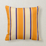 [ Thumbnail: Tan, Dark Orange, and Dark Blue Colored Pattern Throw Pillow ]