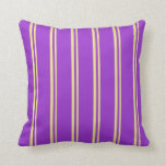 [ Thumbnail: Tan & Dark Orchid Colored Striped Pattern Pillow ]