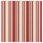 [ Thumbnail: Tan & Dark Red Colored Lines Fabric ]