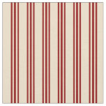 [ Thumbnail: Tan & Dark Red Lined Pattern Fabric ]
