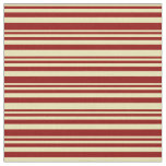 [ Thumbnail: Tan & Dark Red Lined Pattern Fabric ]