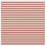 [ Thumbnail: Tan & Dark Red Lines Fabric ]
