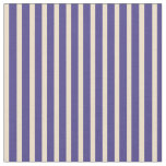 [ Thumbnail: Tan & Dark Slate Blue Colored Pattern of Stripes Fabric ]