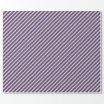 [ Thumbnail: Tan & Dark Slate Blue Colored Pattern of Stripes Wrapping Paper ]