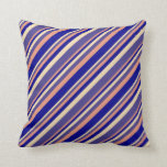 [ Thumbnail: Tan, Dark Slate Blue, Dark Salmon & Dark Blue Throw Pillow ]