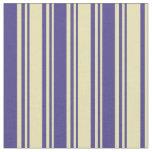 [ Thumbnail: Tan & Dark Slate Blue Stripes Pattern Fabric ]