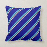 [ Thumbnail: Tan, Dark Slate Blue, Turquoise, and Dark Blue Throw Pillow ]