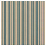 [ Thumbnail: Tan & Dark Slate Gray Colored Stripes Pattern Fabric ]
