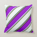 [ Thumbnail: Tan, Dark Slate Gray, Mint Cream, Violet & Black Throw Pillow ]