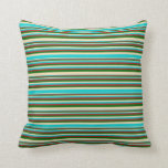[ Thumbnail: Tan, Dark Turquoise, Red, and Dark Green Colored Throw Pillow ]