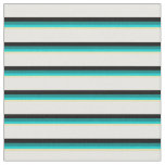 [ Thumbnail: Tan, Dark Turquoise, Teal, Black, and White Lines Fabric ]