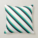 [ Thumbnail: Tan, Dark Turquoise, Teal, Black, and White Lines Throw Pillow ]