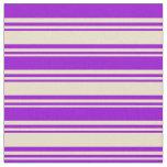 [ Thumbnail: Tan & Dark Violet Colored Stripes Fabric ]