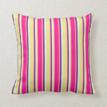 [ Thumbnail: Tan, Deep Pink, Dark Slate Blue & Mint Cream Throw Pillow ]