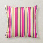 [ Thumbnail: Tan, Deep Pink, Dark Slate Blue & Mint Cream Throw Pillow ]