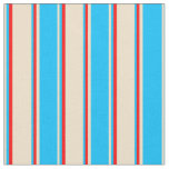 [ Thumbnail: Tan, Deep Sky Blue, and Red Colored Stripes Fabric ]