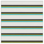 [ Thumbnail: Tan, Deep Sky Blue, Green, Black, and White Lines Fabric ]
