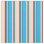 [ Thumbnail: Tan, Deep Sky Blue & Red Pattern of Stripes Fabric ]